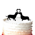 Two Dachshund Dogs with Heart Wedding Cake Topper