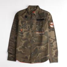 Детская куртка-рубашка с длинными рукавами и камуфляжным принтом