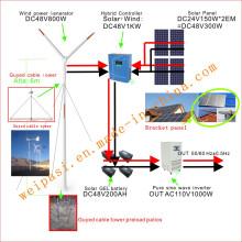 Windenergie, + Solaranlage, DC48V System, Ausgang AC110V1000W (1KW), USA