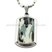 Camuflaje de papel al por mayor con joyería pendiente de los collares de los collares de la etiqueta de perro del acero inoxidable