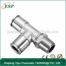 Garnitures de tuyau en forme de T en métal ESP, raccords d'air pneumatiques Raccords de filetage 1/4 Npt