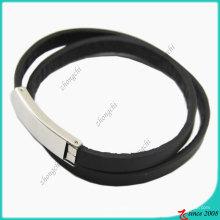 Bracelet en acier inoxydable noir double couches (LB)