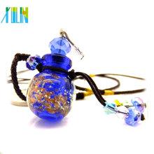os pingentes de vidro os mais novos da garrafa de perfume da poeira de ouro da forma