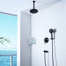 Black Shower Faucet Set Embedded Bathroom Shower
