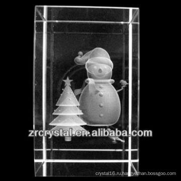 К9 3D лазерное Снеговик Вытравленный Кристалл блок