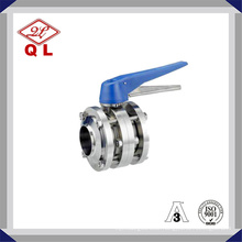 Sanitary Stainless Steel Multiposition Butterfly Valve with Blue Trigger Handle