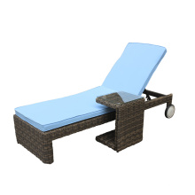 Outdoor Rattan Chaise Lounge With Wheel Leg