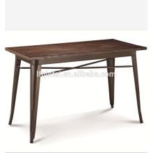 retro metal frame wood top buffet events table