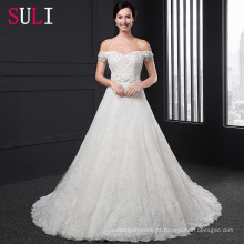 SL-019 Custom Made Off Shoulder Crystal Applique Beading Belt Backless Wedding Dress 2016