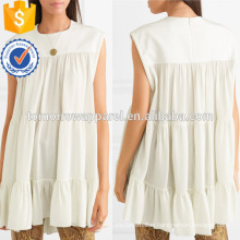 Tiered Loose Fit A-Line White Sleeveless Ruffled Summer Top Manufacture Wholesale Fashion Women Apparel (TA0070T)