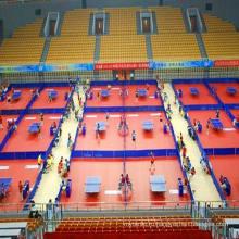 Чемпионат сертификат высокое качество дешевые крытый спортивный ПВХ ролл Пол /Коврик для настольного тенниса 4.5 мм Толщина