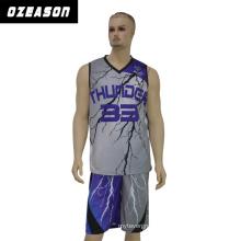 High School Team Sublimation Basketball Suit / Thunder Basketball Jersey