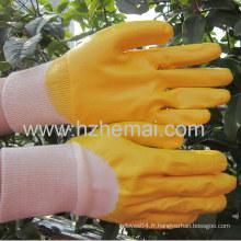 Gants en nitrile demi-immergés Gant de travail industriel en couleur jaune