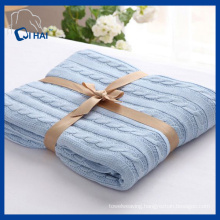 Blue Color 100% Cotton Blanket (QHD99801)