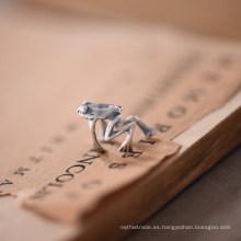 Handmad 925 Sterling Silver No Piercing Frog Clip-on Pendientes Steampunk estilizado