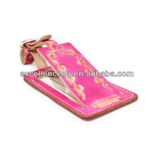 Pink leather luggage tag