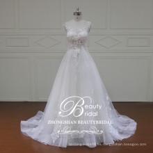 Vestido nupcial modesta de la manga del casquillo un-line de guangdong con el vestido de boda appliqued marfil del cordón