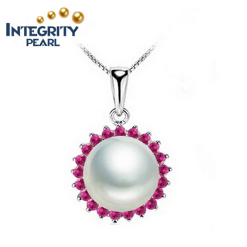 Freshwater Pearl Pendant Good Style AAA 9-10mm Semi Round 925 Silver Pearl Pendant