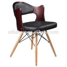 Hot selling black pu restaurant furniture with wooden legs