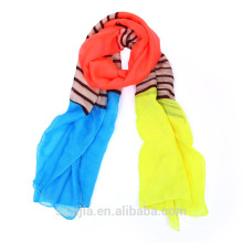 Fashion stripe print polyester voile long lady scarf