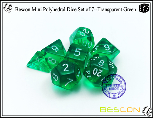 Bescon Mini Polyhedral Dice Set of 7--Transparent Green-6