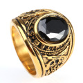 Stainless Steel sapphire Printing men Diamond Ring