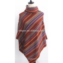 ladies' Acrylic Knitted Striped Poncho shawl