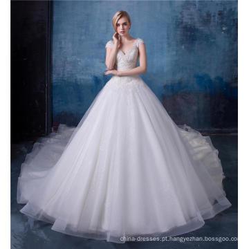 Vestido de casamento de luxo frisado vestido de noiva