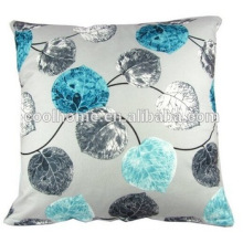 Pillow Cover Square 20X20 Inch Cotton Polyester Blue Grey Leaves Cushion Case