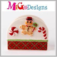 Enjoyable Christmas Ginger Bread Ceramic Napkin Holder Decoration