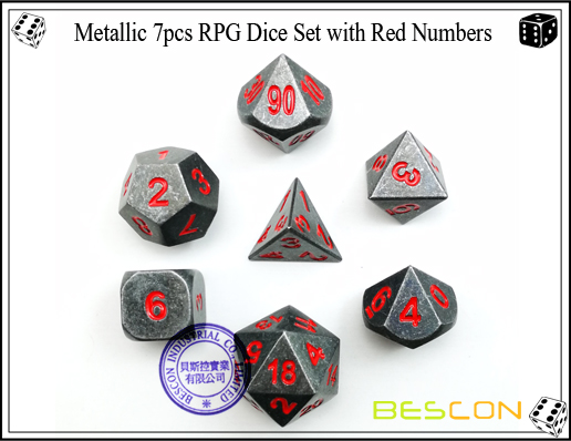 Metallic 7pcs RPG Dice Set with Red Numbers