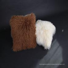En gros doux bouclés mongol agneau fourrure housse de coussin