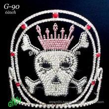 New popular rhinestone skull Halloween pageant tiara