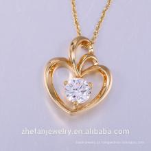 Pingente de designer de iluminação forma de coração Pingentes De Cristal Colares de Jóias collier femme Hot Moda Banhado A Ouro Cadeia Colar Pe