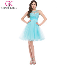 High Quality Luxury pale turquoise Tulle Short Mini Open Back Beaded Crystals Formal Party Gown Cocktail Dresses CL6151-1#