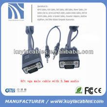6 футов VGA для VGA мужской кабель с 3,5 мм аудио AV кабель адаптера