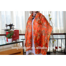 Latest fashionable crinkled butterfly printed long scarf and best-selling imitated paj shawl scarf