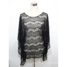 Lady Black Fashion poliéster de malha Oco Lace T-shirt (YKY2226)