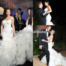Custom available 2013 luxury kim kardashian ruffle straps mermaid cathedral train tiered skirt wedding dress JWD034