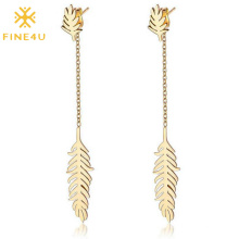 Winter 2020 women fashion long stainless steel feather 18k gold leaf earrings