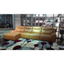 Sofá de couro Sofá de couro em forma de cor dourada em forma de L