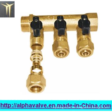 3-Wege-Messingverteiler mit Griff für Wasser (a. 0183)