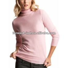 100% knitted women cashmere sweater with turtle neck 12gg 14gg 16gg
