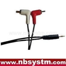 3.5 ficha estéreo para 2 x cabo ângulo recto RCA