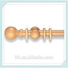 China Supply Pine Walnut Wood Ball Finial Curtain Rod Kit,Carved Wood Finial
