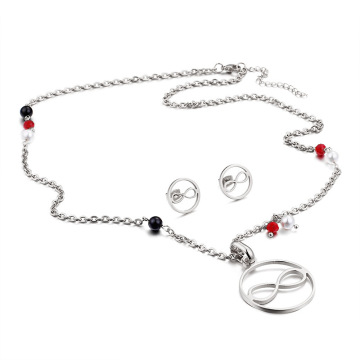 Silver gold Necklace and Earring infinity jewelry set