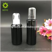 100 ml schwarz matt Glasflasche kosmetische Glasflasche Verpackung Pumpflasche