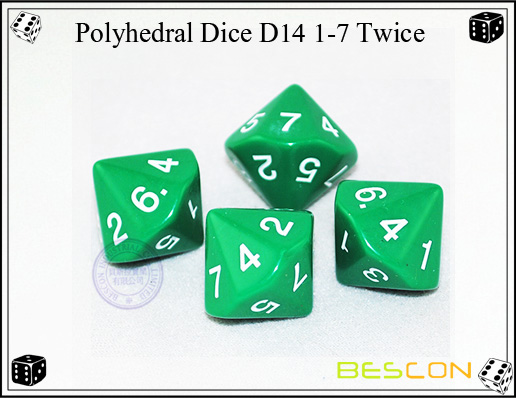 Polyhedral Dice D14 1-7 Twice
