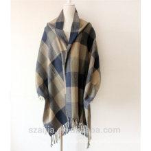 Ladies border plaid winter poncho shawl