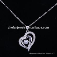 ZheFan latest design heart shaking pendant necklace crystal silver pendant